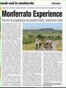 """articolo de """"La vita casalese"""" Monferrato experience, percorsi di progettazione dei prodotti turistici, enoturismo e bike"""
